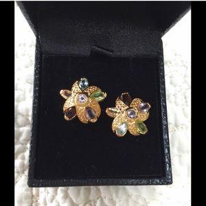 Starfish earrings multi colored gem stones
